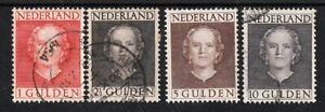 499) NETHERLANDS - NEDERLAND 534-537  JULIANA EN FACE 1949 USED SET x4 - PERFECT