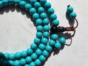 8mm Turquoise Gemstone Healing Prayer Mala 108+1 beads Buddhism Meditation