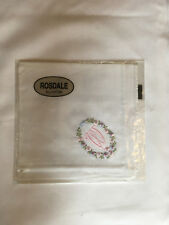 Monogrammed Handkerchief with pink letter W in floral wreath. new in packet