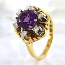 Runde Echte Edelstein-Ringe aus Gelbgold mit Amethyst