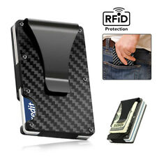 RFID Blocking Carbon Fiber Minimalist Ridge Money Clip Front Pocket Men's Wallet