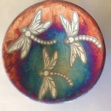 Dragonfly Plate Raku Pottery NEW