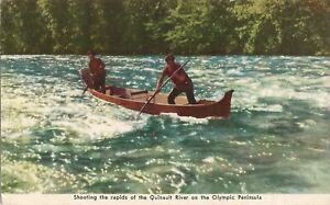 Shooting Rapids - Quinault River -Olympic Peninsula, WA - 1947 - FREE WWII MAIL: