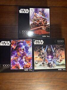 Star Wars 1000 Piece Puzzle Lot Of 3 Buffalo Disney