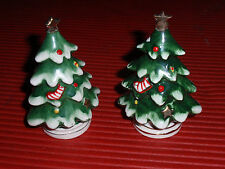 TWO VINTAGE LEFTON PORCELAIN CHRISTMAS TREE SALT/PEPPER SHAKERS 3 1/2 INCHES