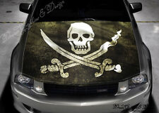 Pirates Flag Full Color Graphics Adhesive Vinyl Sticker Fit any Car Hood #197