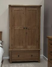 Tilson solid rustic oak bedroom furniture double wardrobe with drawer