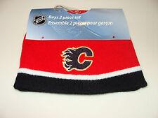 Calgary Flames Kids Child Mitts Toque Beanie Set Cap Hat 4-6x Mighty Mac