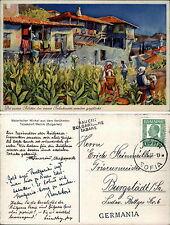 1937 Stempel SOFIA und Bulgarische Tabake auf seltener AK Tabak-Dorf MELNIK