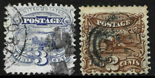 Sc #113 114 Grill Light Cancel 2 & 3 Cent 1869 Pictorial US 5P21