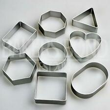 Basic Shapes Set of 8 Metal Cookie Cutters Square Round Heart Triangle Biscuit