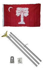 3x5 State of South Carolina Big Red Flag Aluminum Pole Kit Set 3'x5'