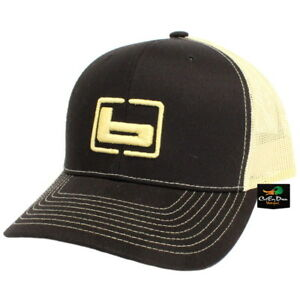 """NEW BANDED TRUCKER CAP MESH BACK HAT BLACK AND GOLD W/ """"b"""" LOGO"""
