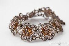 Antique Vintage Victorian Sterling 800 Silver Filigree Floral Hammer Bracelet