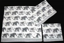 3 Deborah Connolly ELEPHANTS Grey Black White Velour Bath Hand Towel Washcloth