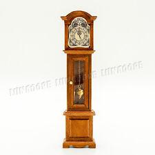 1:12 Dollhouse Vintage High Floor Clock Wood Alarm Pendule Miniature Decor Gift