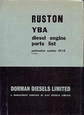 Ruston YBA diesel engine parts list pub. no. 9518 (Dorman Diesels Ltd) Original