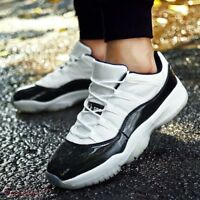 Men's Breathable Basketball Shoes High Top Lace Up Black White Sneaker Athltic