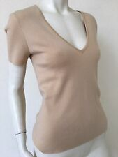 Michael Kors beige camel knit cashmere sweater top LARGE L