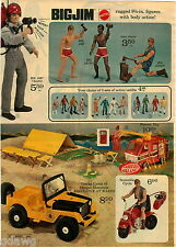 1973 PAPER AD 2 Pg Action Figure Big Jim Josh Jack Jeep Cycle Football Karate