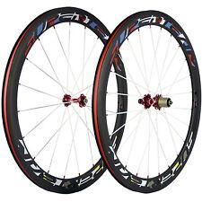 SUPERTEAM Race Carbon Wheelset Clincher Wheels 50mm Red Novatec 271 White Spoke