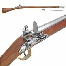 "Authentic Colonial Brown Bess Replica 75"" Rifle With Bayonet Non-Firing Gun"