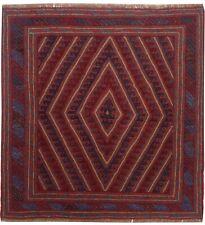 3407 # Turkomen Handmade Mashwani Kilim 100% Wool Rug Home Decor 122 x 121 cm