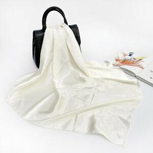 Solid Color Scarf Bandana Women Fashion Kerchief Imitate Silk Shawl Hijab 90cm