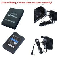 Battery or UK Adapter wall charger for Sony PSP 2000/2001/2003/2004 Slim LITE