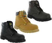 Grafters Steel Toe Boots Ankle Padded Safety Goodyear Welted Leather Lace Mens