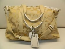 Coach Signature LargeTravel Tote Bag F77295 Beige and White