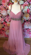 Kids Me Kate Rose Pale Pink Full Length Beaded Crystal Gown Prom Ball Occasion 8