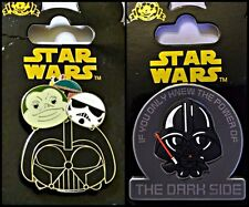 Disney Parks 2 Pin Lot TSUMS Star Wars pull up + Darth Vader cutie Dark Side