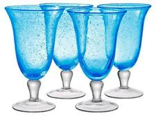 ARTLAND IRIS FOOTED ICE TEA BUBBLE GLASSES HAND CRAFTED TURQUOISE -SET OF 4- NEW