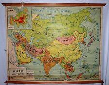 VINTAGE ROLL SCHOOL MAP ASIA POLITICA 1967 ANTIQUE POSTER 123x98Cm CARTEL