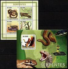 Sao Tome 2003 MNH MS + SS, Snakes, Cobra, Viper