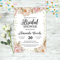 BRIDAL SHOWER INVITATIONS PERSONALISED FLORAL PINK INVITE WEDDING INVITE PARTY