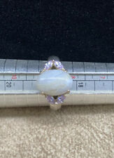Vintage Sterling Silver Large Agate Cab 925 Ring NV Nevada Silver Mines ~ Size 9