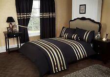 SUPER KING BLACK / GOLD RIBBON 200 THREAD COUNT HOTEL QUALITY DUVET COVER SET