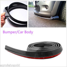 Autos 2.5 Meters Black Carbon Fiber Body Bumper Lip Protector Chin Sticker Skirt