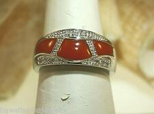 SOLID 14K WHITE GOLD GEOMETRIC CABOCHON CUT RED CORAL 0.13CTS DIAMOND RING 8 #1