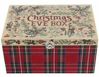 Christmas Eve Present Treat Keepsake Wooden Box ~ Festive Holly And Ivy Chest