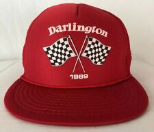 NOS Vintage 1980s DARLINGTON NASCAR 500 Race Snapback Mesh Trucker Hat NEW