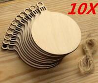 10pc Wooden Round Bauble Hanging Christmas Tree Blank Decorations Gift Tag Shape