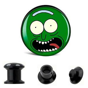 PAIR-Pickle Black Acrylic Screw On Stash Ear Plugs 10mm/00 Gauge Body Jewel