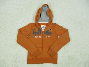 Hollister Sweater Small Adult Orange Hoodie Full Zip Spell Out Logo Surf Womens