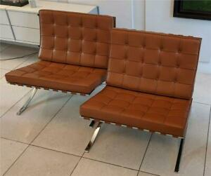 Pair of Knoll Cognac Leather Mies van der Rohe Split Frame Barcelona Chairs
