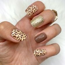 Cheetah Brown Glitter Short Press On Nails False Fake 24 Pc Nail Set Glue On