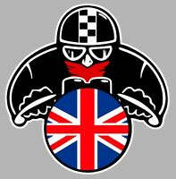 AUTOCOLLANT MOTARD DRAPEAU ANGLAIS FLAG UK GB BIKER  8x7,5cm STICKER MOTO MA185