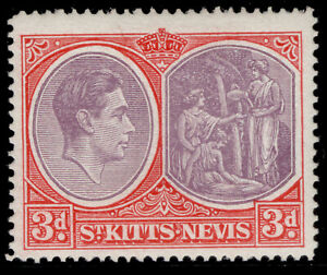 ST KITTS-NEVIS GVI SG73g, 3d deep reddish purple & brt scarlet, M MINT. Cat £15.